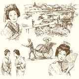 tecknad handjapan set Royaltyfri Bild