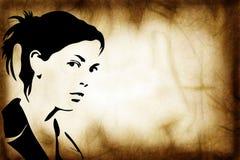 tecknad handsilhouettekvinna Royaltyfri Bild