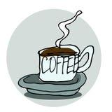 Tecknad illustration för vektor hand En kupa av kaffe Paris tema Sk Royaltyfri Foto