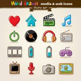 tecknad rengöringsduk för medel för underhållninghandsymboler Arkivbild