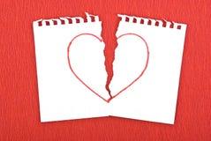 tecknad riven hjärtaanteckningsboksida Fotografering för Bildbyråer