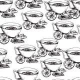 tecknad seamless handmodell Kupa av Tea Arkivfoton