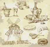 tecknad set för france handoriginal Arkivfoton