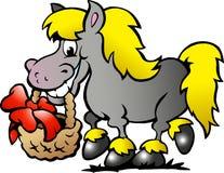 tecknad vektor för ponny för handhästillustration Arkivbild