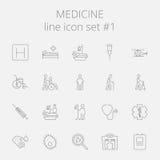 tecknad white för vektor för medicin för handsymbolsillustration set stock illustrationer