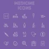 tecknad white för vektor för medicin för handsymbolsillustration set Fotografering för Bildbyråer