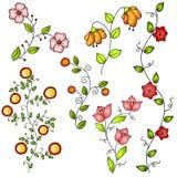 tecknade blommor hand fjädervektorn Arkivbild