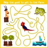 Tecknade filmen av utbildning ska fortsätta hemmet för den logiska vägen av färgglade djur Hjälp att få gethemmet till lantgården royaltyfri illustrationer