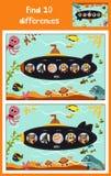 Tecknade filmen av utbildning som finner 10 skillnader i barns bildubåt, svävar med djur bland marin- fiskar och inhabitan Royaltyfri Fotografi