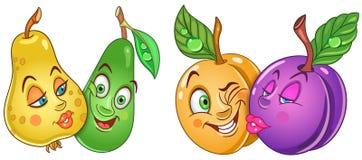 Tecknade filmen bär frukt förälskat royaltyfri illustrationer