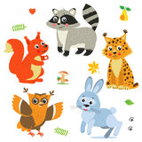 Tecknade filmen behandla som ett barn djurpacken Gullig vektoruppsättning Arkivbilder