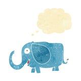 tecknade filmen behandla som ett barn elefanten med tankebubblan Arkivbild