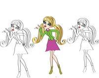 Tecknade filmen behandla som ett barn för flickateckenet för flickan den ansikts- teckningen royaltyfri bild