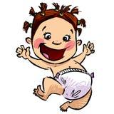 Tecknade filmen behandla som ett barn flickan med blöjor och roligt hår som högt hoppar Arkivfoton