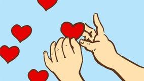 Tecknade filmen behandla som ett barn händer och fem lilla röda hjärtor Arkivfoto