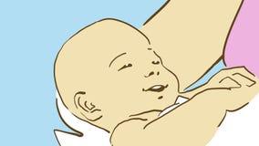 Tecknade filmen behandla som ett barn behandla som ett barn på händer för moder` s, closeup Arkivfoton