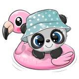 Tecknade filmen behandla som ett barn pandasimning på uppblåsbar flamingo för pölcirkel royaltyfri illustrationer