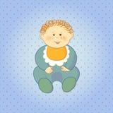 Tecknade filmen behandla som ett barn pojken på prickbakgrund Royaltyfri Fotografi