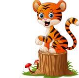 Tecknade filmen behandla som ett barn tigersammanträde på trädstubbe royaltyfri illustrationer