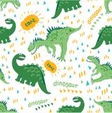 Tecknade filmen Dino tycker om går och en trevlig varm dag seamless dinosaurmodell För barns mode design av barns kläder, f vektor illustrationer