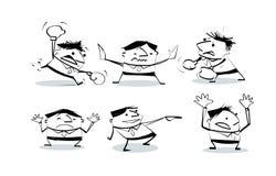 Tecknade filmen för affärsmannen för kult för klottret för vektorillustrationattraktion poserar i olika tecken Stock Illustrationer