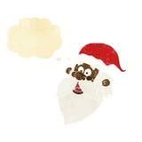 tecknade filmen glade Santa Claus vänder mot med tankebubblan Arkivbilder