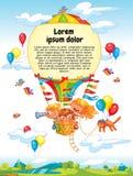 Tecknade filmen lurar att rida ballongen för varm luft royaltyfri illustrationer
