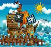 Tecknade filmen piratkopierar - illustrationen för barnen Arkivbilder