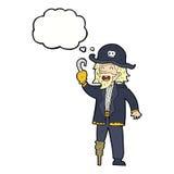tecknade filmen piratkopierar kaptenen med tankebubblan Arkivbild