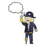 tecknade filmen piratkopierar kaptenen med tankebubblan Arkivfoton