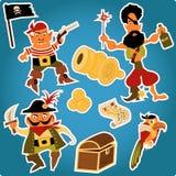 Tecknade filmen piratkopierar klistermärkear Royaltyfri Foto