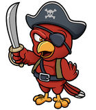 Tecknade filmen piratkopierar papegojan Arkivbild