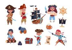Tecknade filmen piratkopierar Roligt piratkopiera kapten- och sjömantecken, samling för vektor för skeppskattöversikt royaltyfri illustrationer