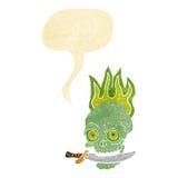 tecknade filmen piratkopierar skallen med kniven i tänder med anförandebubblan Royaltyfri Fotografi
