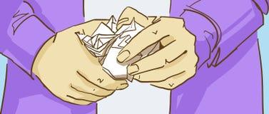 Tecknade filmen räcker att rymma en skrynklig pappers- boll Arkivbilder
