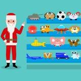 Tecknade filmen Santa Claus visar leksakerna på hyllan stock illustrationer