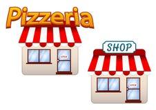 Tecknade filmen shoppar och pizzeriasymboler Royaltyfria Bilder