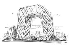 Tecknade filmen skissar av Kina de centrala TVhögkvarteren som bygger, Peking, Kina royaltyfri illustrationer