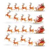 Tecknade filmen ställde in av jul som Santa Claus rider renen, släden på jul med olikt poserar sinnesrörelse Fastställd illustrat royaltyfri illustrationer
