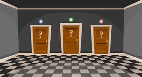 Tecknade filmen väljer ett dörrbegrepp Tomt rum med dörr tre i grå färger utformar Royaltyfria Foton