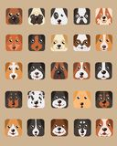 Tecknade filmer för hundhuvud planlägger kubvektorn vektor illustrationer