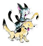 Tecknade filmer katt och hund spelar och argumenterar royaltyfri illustrationer