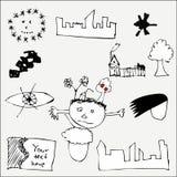 tecknade handbilder Fotografering för Bildbyråer