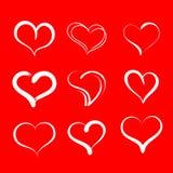 tecknade handhjärtor Ställ in av symboler för vektorgrungehjärtor royaltyfri illustrationer