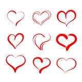 tecknade handhjärtor Ställ in av symboler för vektorgrungehjärtor Designbeståndsdelar för dag för valentin` s royaltyfri illustrationer