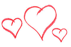 tecknade hjärtor tre Fotografering för Bildbyråer