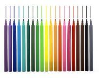 tecknade linjer multicolor markörer Arkivbilder