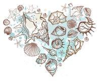 tecknade skal för handhjärtaillustration Arkivbilder