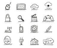 Tecknade symboler för rengöringsduk hand Arkivbilder