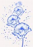 tecknande blom- kvadrerad anteckningsbokpappersskola vektor illustrationer